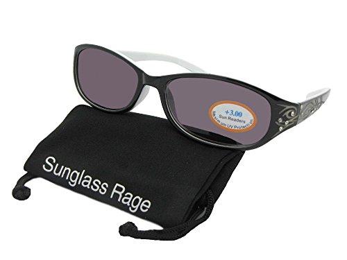 R15 Small Fashion Womens Full Reader Sunglasses (Black/White Frame-Gray Lenses, - For Faces Readers Small