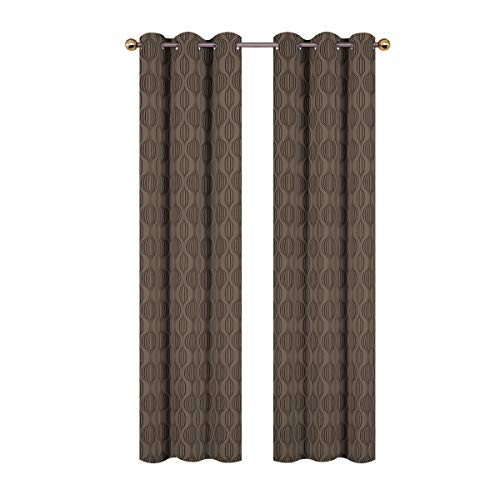 Valea Home Moroccan Blackout Curtains Thermal Insulated Grommet Room Darkening Curtain Panels for Bedroom Geometric Pattern Drapes, 38 x 84 inch, Coffee, 2 Panels