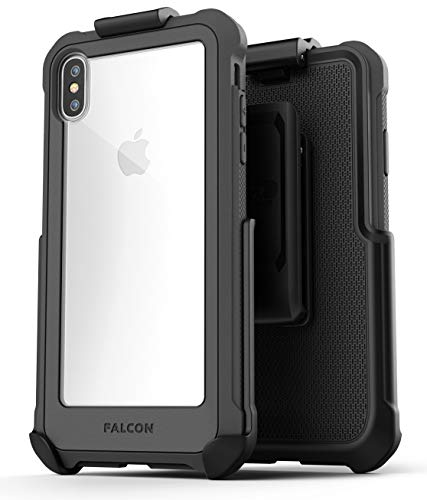 Encased Belt Case for iPhone Xs Max (w/Tempered Screen Protector) - Falcon Armor Heavy Duty Protective Cover w/Holster Clip (Grey)