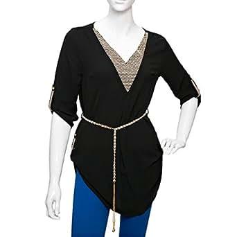 Damacseno Black Mixed V Neck Blouse For Women