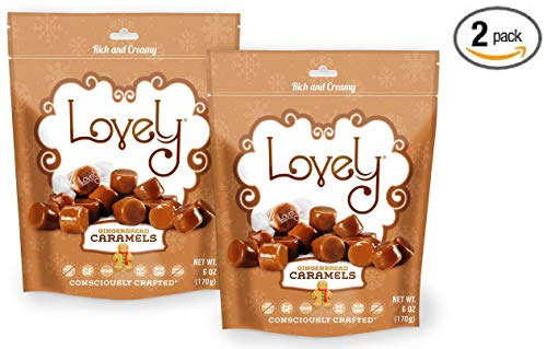 GINGERBREAD Caramels (2-Pack)- Lovely Co. 6 oz. Bag - Holiday Seasonal Flavor | Soft & Chewy, Old Fashioned Style, Authentic Caramel Candies - Non-GMO, Soy & HFCS- Free, Gluten-Free & Kosher!