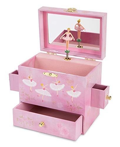 JewelKeeper Ballerina Musical Jewelry Box with 3 Drawers, Pink Rose Design, Swan Lake Tune - Enchanting Musical Treasure Box