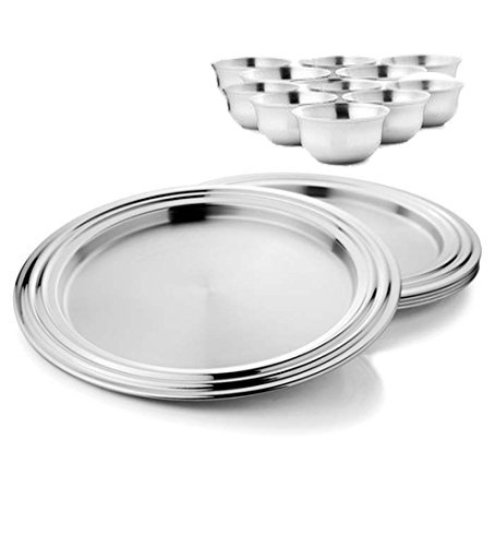 King International Stainless Steel Silver Dinner Set ,Set Of 48 Pieces Includes 16 dinner Plate 16 quarter Plate and 16 Bowls by King International