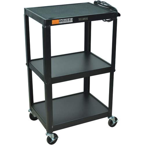 Luxor Multipurpose Adjustable Height Three Shelves Steel A/V Utility Cart - Black