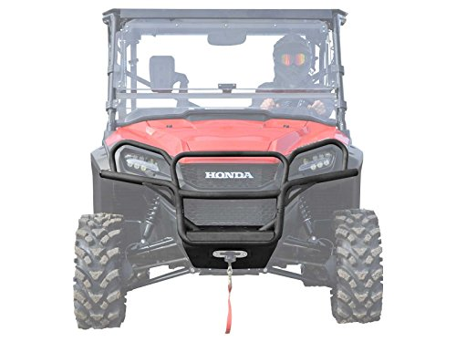 - SuperATV Heavy Duty Front Brush Guard Bumper for Honda Pioneer 1000 (2016+) - Wrinkle Black