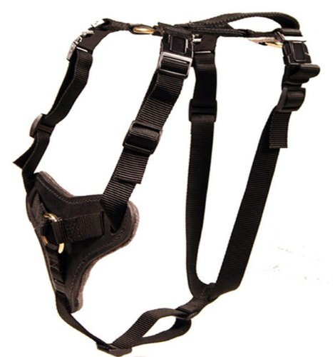 Nylon and Leather Working Dog Harness for Protection And Tracking - Redline K9 ()
