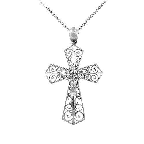 Solid 925 Sterling Silver Filigree-Style Cross Pardon Crucifix Charm Pendant Necklace, (Filigree Cross Charm)