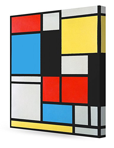 - DECORARTS - Ater Piet Mondrian Composition in Blue, red and Yellow Lithograph in Colours. Giclee Canvas Prints Wall Art for Home Decor 24x30 x1.5