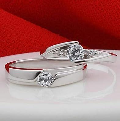 cc1ae500b3 925 Sterling Silver Shining Diamond Wedding Gift Love Couple Ring Set cr1