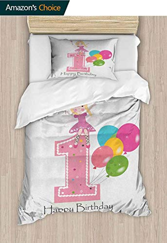 - 1st Birthday 2pcs Duvet Cover Sets,Princess Fairy Party Theme with Best Wishes Pink Wand and Balloons 3D Print 100% Polyester Fiber Quilt Cover & Pillowcases 71
