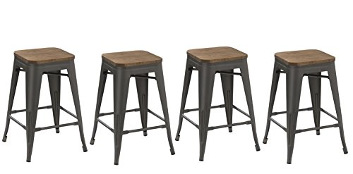 BTEXPERT 24-inch Metal Vintage Antique Style Gunmetal Counter Bar Stool Modern Handmade Wood top seat Set of 4 barstool