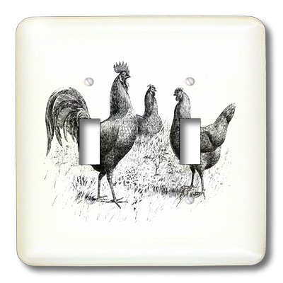 3dRose LLC lsp_100976_2 Black N White Vintage Drawing of Chickens N Rooster Double Toggle Switch