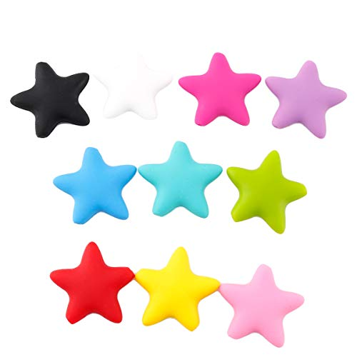 Baby Love Home 10pcs 37mm Large DIY Silicone Teething Five-pointed Star Beads for Necklace Mixed Colors Nursing Accessories