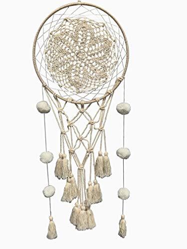 Eight Owls Macrame Dream Catcher Wall Hanging - Boho Décor - Tassels, Pom Pom - Natural Cotton - 21
