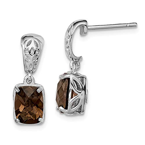 925 Sterling Silver Smoky Quartz Post Stud Earrings Drop Dangle Fine Jewelry Gifts For Women For Her ()