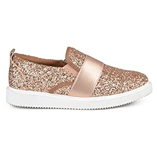 Brinley Co. Womens Glitter Ribbon Slip-on Sneakers Rose Gold, 7.5 Regular US