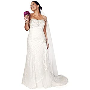 Sample: Strapless Lace A-line Gown with Side Split Style AI13012269