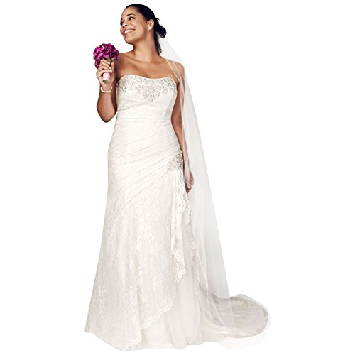 David's Bridal Sample: Strapless Lace A-Line Gown With Side Split Style AI13012269, Ivory, 24W