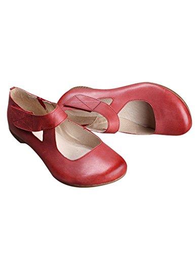 Zapatos de Youlee suela mujer resorte con de de cuero caqui color con de goma 6Rw1rq6p