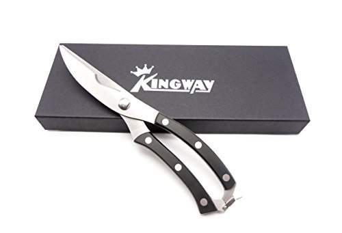 Best Large Heavy Duty Poultry Shears Chef and Cook Approved, POM Handle Kitchen Shears for Poultry and bone , Cutting Chicken, Barbeque, Crafts, Even Metal Cutting, with High Grade Gift Box ()