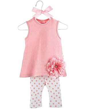 Baby Buds Flower Cotton Tunic and Leggings Set, Pink, 0-6 Months