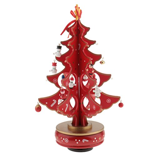 Jili Online New Year Lovely Cartoon Wooden Merry Christmas Tree Decorations Christmas Gifts Ornaments XMAS Table Desk Decor for Home - red by Jili Online (Image #2)