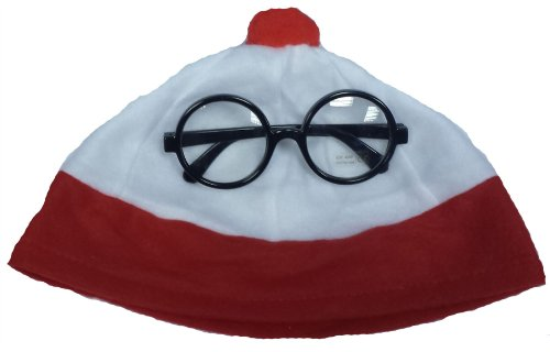 B&S Trendz Men's Red White Nerd Bobble Hat And Glasse Wheres? Geek Book Week One Size Red/White