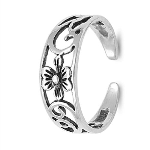 Flower Toe Ring Sterling Silver 925 Fine Beach Adjustable Jewelry UK_B00CNWFYJ0