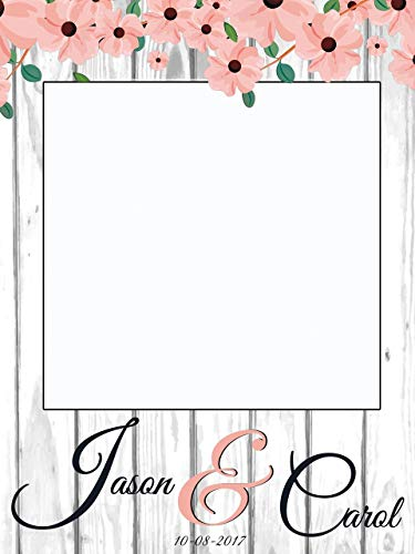 Custom Floral Rustic Wedding Photo Booth Frame - Sizes 36x24, 48x36; Personalized Floral Wedding Decorations, Bridal shower photo booth, Wedding selfie frame, Handmade Party Supply Photo Booth Props