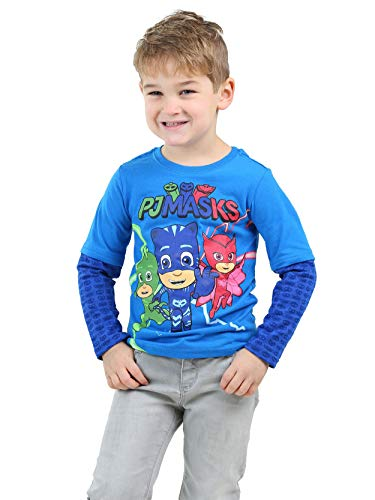 PJ Masks Toddler Boys Long Sleeve Layered Style T-Shirt Tee (5T, Blue) by PJMASKS