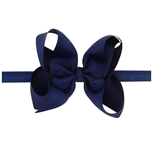 LD DRESS Baby Girls Infant Headbands With Kids Hair Bows(16) (Color Navy)