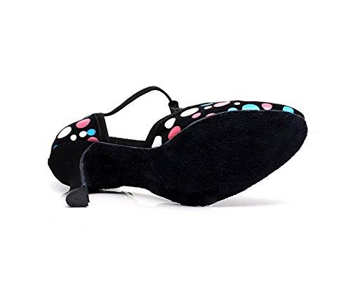 JSHOE Womens Latin Dance Fermé Orteil Talon Haut Salsa / Tango / Chacha / Samba / Moderne / Jazz Chaussures Sandales,C-heeled7.5cm-UK5/EU37/Our38