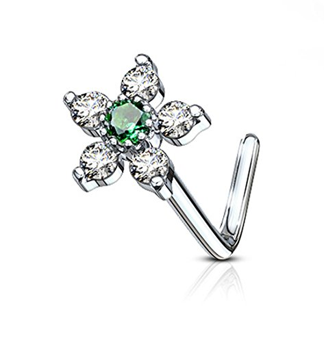(Forbidden Body Jewelry 20g Surgical Steel L Shaped Nose Ring with 6-CZ Crystal Flower, Green/Clear)