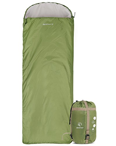 (REDCAMP Ultra Lightweight Sleeping Bag for Backpacking, Comfort for Adults Warm Weather, Hooded with Compression Sack Green (87