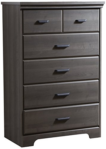 South Shore Versa Collection 5-Drawer Dresser, Gray Maple with Antique -