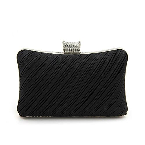 Elegant Pleated Satin Hard Clutch Rhinestones Top Evening Bag, Black