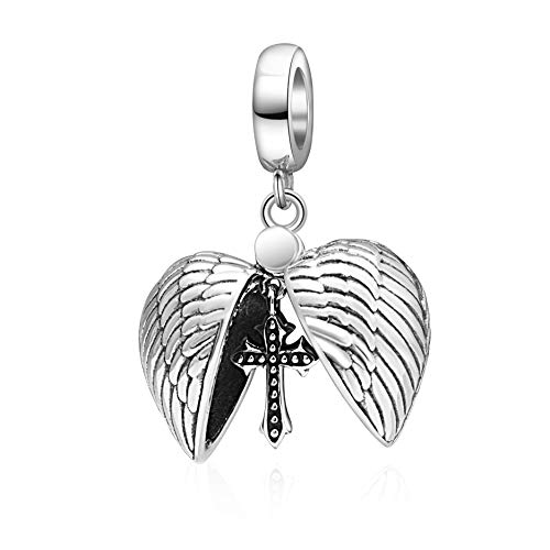 SOUKISS Angel Feather Heart Charms 925 Sterling Silver Love Holy Cross Dangle Charm Fits Bracelet - Sterling Silver Gold Feather