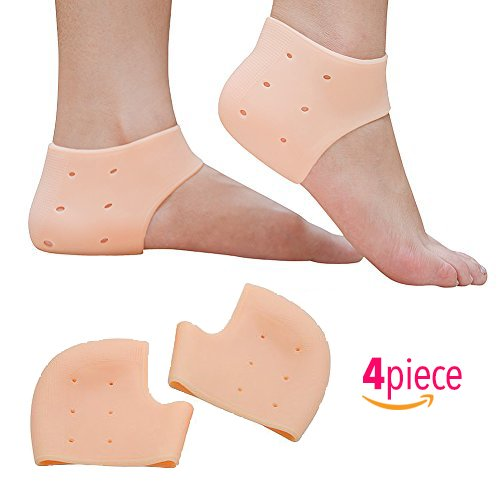 AZ-Health 2 pairs Plantar Fasciitis Silicone Gel Sleeve Breathable Protective Heel Air Support, Reduce Pressure on Heel, Relief Heel Pain and Cracked Heel