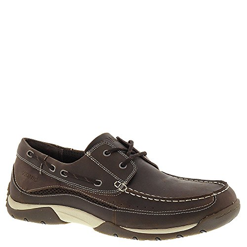 Vionic Eddy Mens Leather Boat-Shoe Brown - 9
