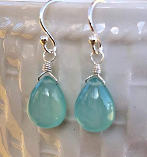 Sterling Silver Aqua Blue Chalcedony Earrings Gemstone Jewelry Gift For Women