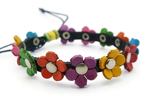 [APECTO Jewelry Leather Flowers Charm Bangle Bracelet Handmade (Multicolour), SM49] (Pictures Of Medusa Halloween Costume)