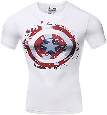 Pluma roja hombres Compresión camisa deportivos, White Capitán América camiseta, hombre, color Varios colores - blanco, tamaño mediano: Amazon.es: Deportes y aire libre