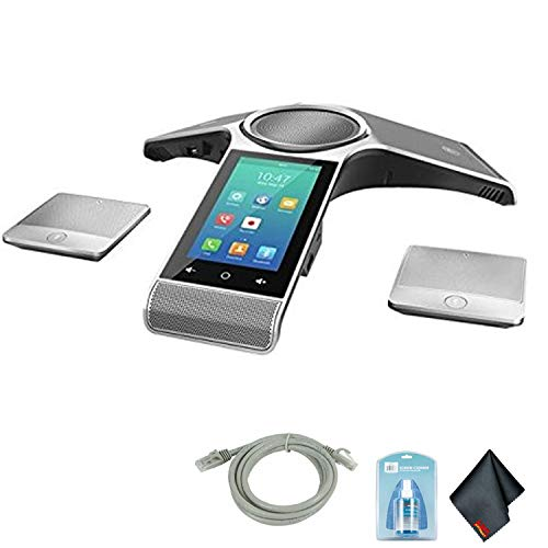 Yealink CP960 Conference IP Phone with 2 Wireless Mics, WiFi and PoE (Power Adapter Not Included) Bundle with 6Ave Cleaning Kit and 5-Foot Cat5E Cable ()