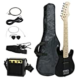 "Smartxchoices 30"" Inch Kids Electric Guitar With 5W Amp & Much More Guitar Combo Accessory Kit Holiday Gift (Black)"