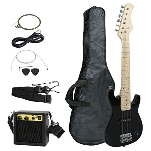 Smartxchoices 30 Inch Kids Electric Guitar With 5W Amp & Much More Guitar Combo Accessory Kit Holiday Gift (Black)