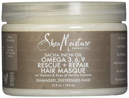 3 Omega Repair (Shea Moisture Sacha Inchi Oil Omega-3-6-9 Rescue & Repair Hair Masque for Unisex, 12 Ounce)