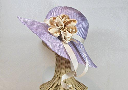 Lyla Frayed Edge Straw Derby Sunhat in Lavender by Bonnet