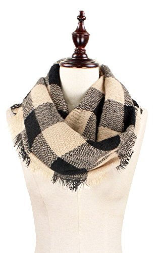 Plum Feathers Premium Plaid Print Infinity Scarf (Beige Buffalo Check)