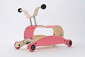 Wishbone Mini-Flip Mix & Match in Pink - Baby Walker and Rocker That Converts - 3-in-1 Walk, Scoot & Rock (Pink)