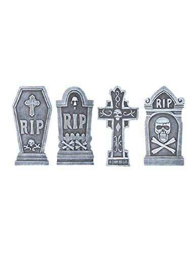 4 Piece RIP Tombstones With Skulls Set Halloween Holiday Decoration Props ()